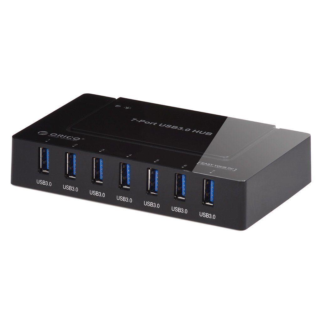 ORICO USB 3.0 7ポート ハブ 高品質 ルネサス チップ uPD720210 2基搭載品 電源アダプタ USB3.0 ホスト ケーブル 付 日本独自仕様 H9978-U3 (ブラック)