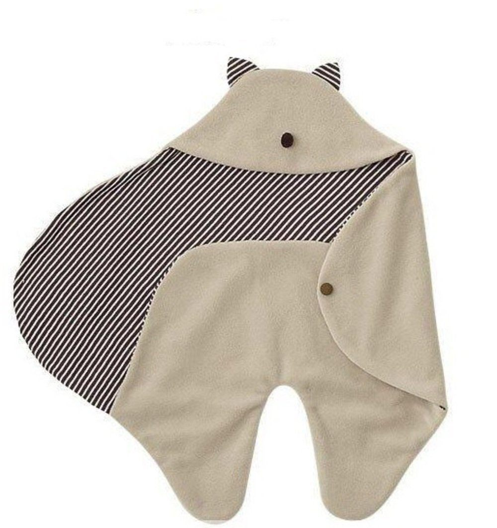 赤ちゃん ぐっすり! 包み込む あったか おくるみ 耳 鼻 シッポ 付き ふわふわ アフガン マイクロフリース