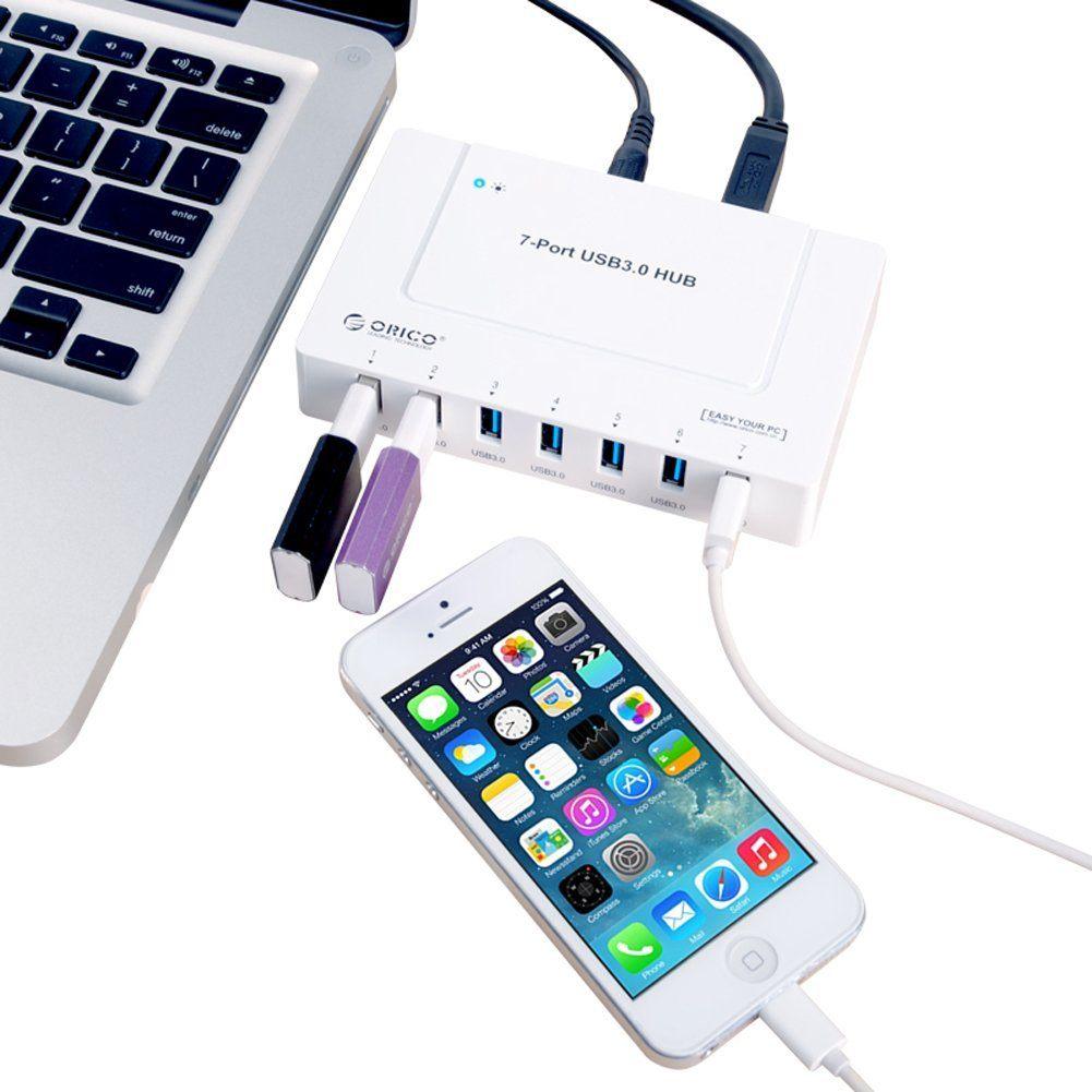 ORICO USB 3.0 7ポート ハブ 高速5Gbps 対応 VL812 チップ 2基搭載 省スペース モデル 電源付 USB3.0 1m ケーブル 付 H9978-U3